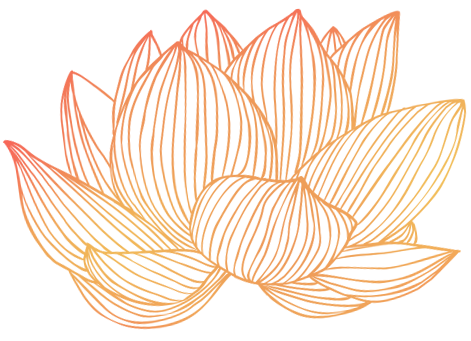 A lotus flower in a soft red and gold gradient